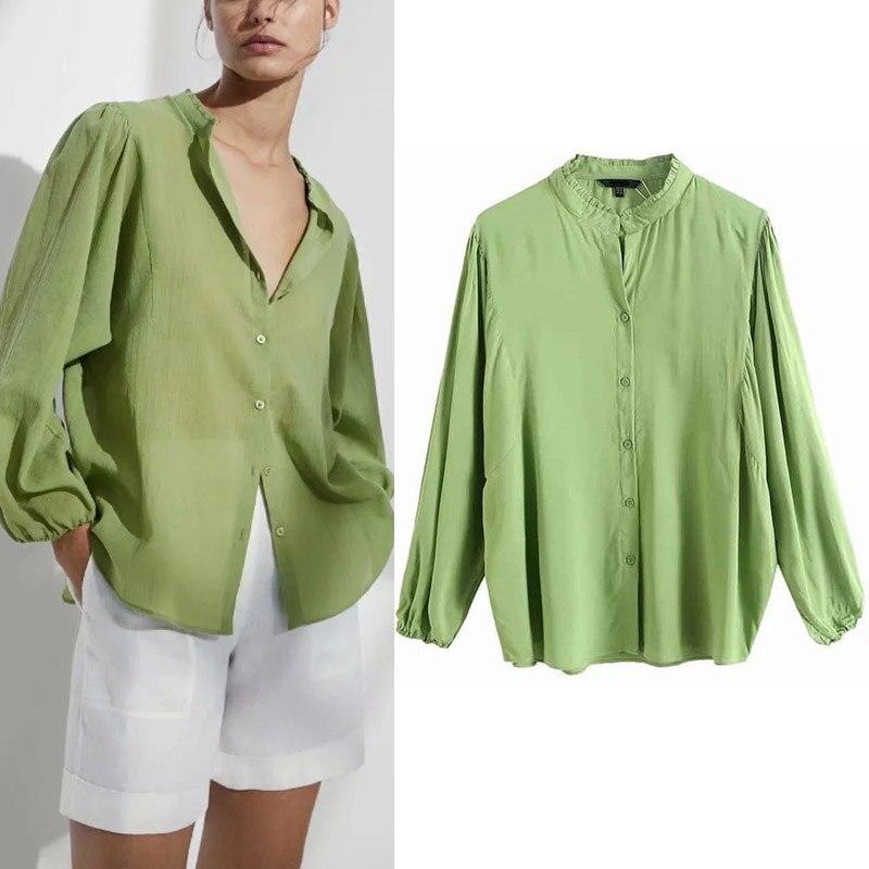 Женские хлопковые рубашки с длинным рукавом, зеленые свободные рубашки с круглым вырезом, однотонная блузка, удобные топы, женская уличная ...