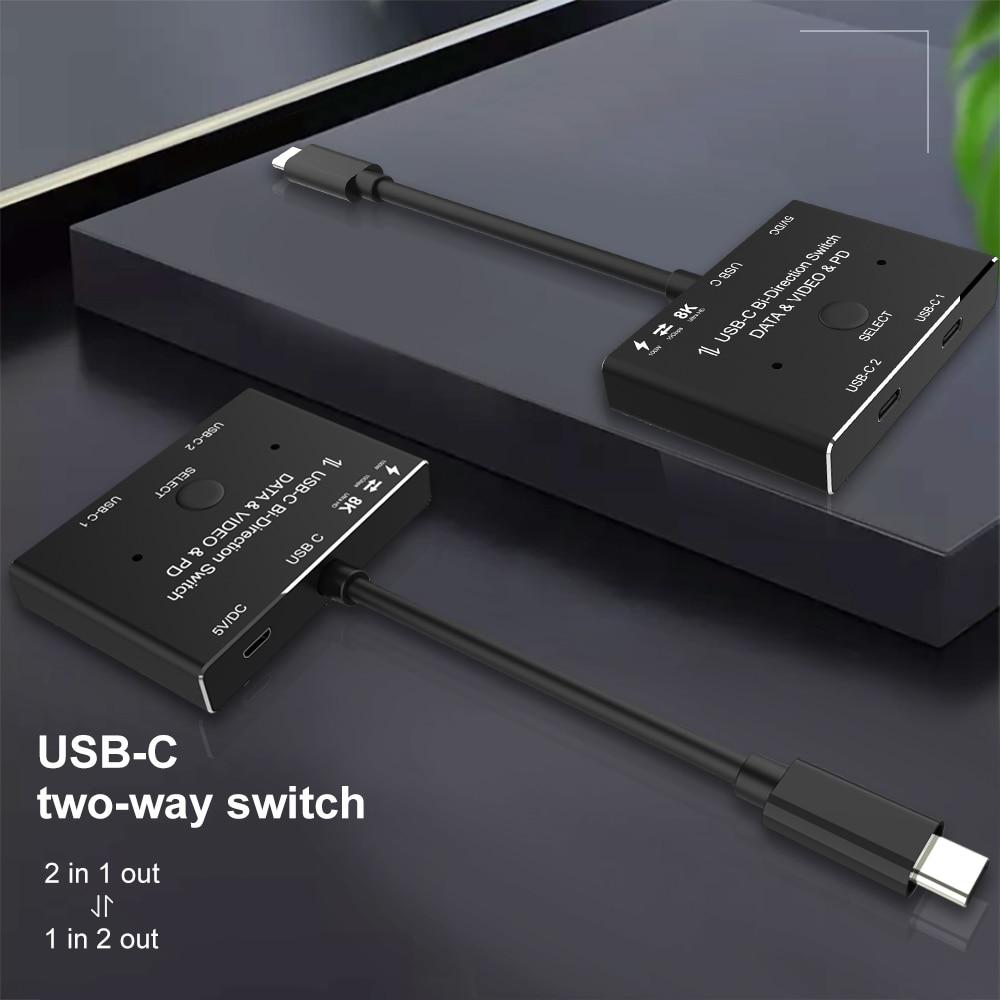 KVM USB C two-way Switch 1x2/2x1 USB 3.1 splitter data video switcher 8K @ 30Hz PD 100W for PC monitor Mobile phone Multi-source