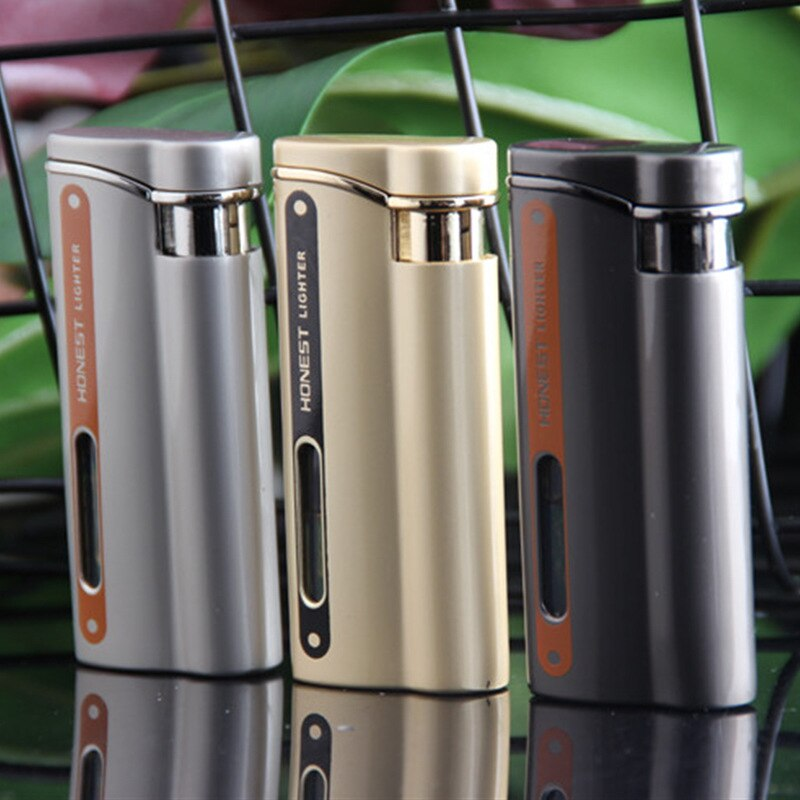 Fashion Red Torch Flame  Metal Windproof  Visible Gas Window Turbo Lighter Cigarette Ciga Accessories Gadgets For Men