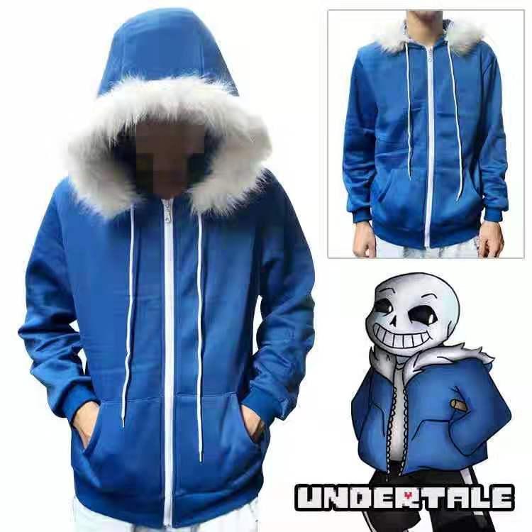 Undertale Sans, sudaderas con capucha Cosplay, máscara de látex, esqueleto genial, abrigo azul Cos, disfraz de Cosplay de Halloween, chaqueta Unisex, tocado