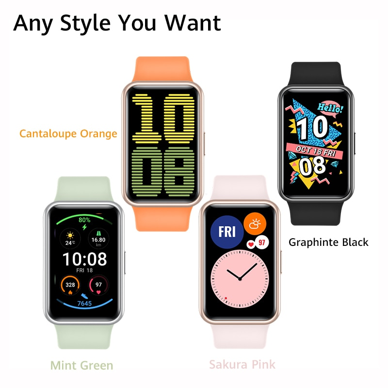 Global Version HUAWEI Watch FIT SmartWatch Quick-Workout Animations Blood Oxygen Watch FIT 10 Days Battery Life Watch F