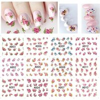 12 designs nail stickers set mixed floral geometric nail art water transfer decals sliders flower leaves manicures decoration