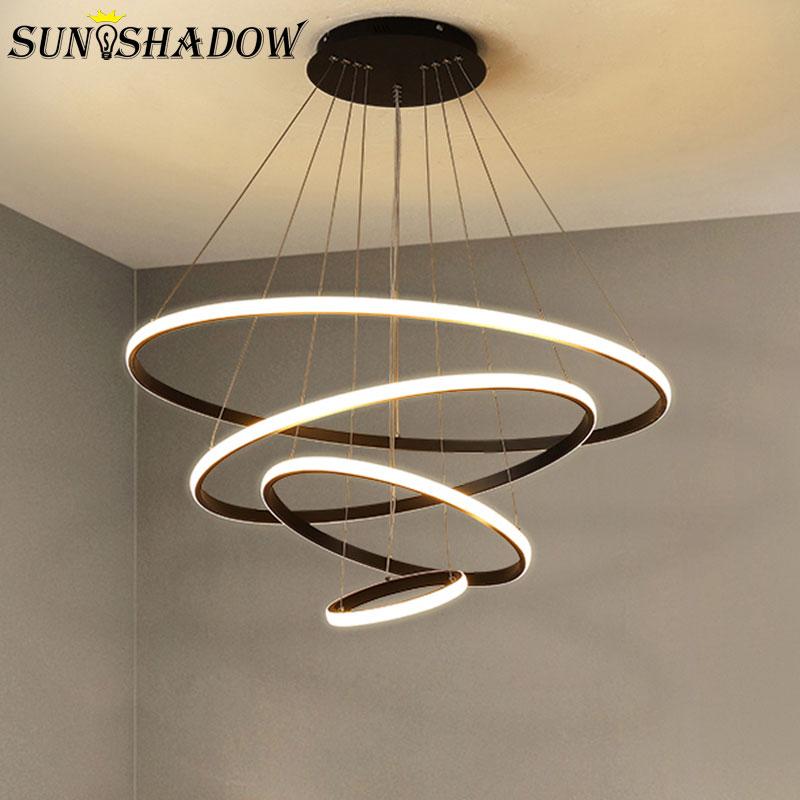 الإنارة الحديثة LED الثريا الأبيض والأسود والقهوة مصابيح Led الثريات السقف الإضاءة لغرفة المعيشة المطبخ غرفة الطعام