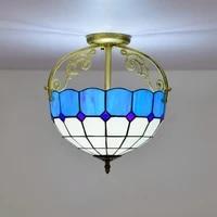 30cm european style modern mediterranean blue multi colored glass restaurant aisle corridor bathroom glass semi ceiling lamp