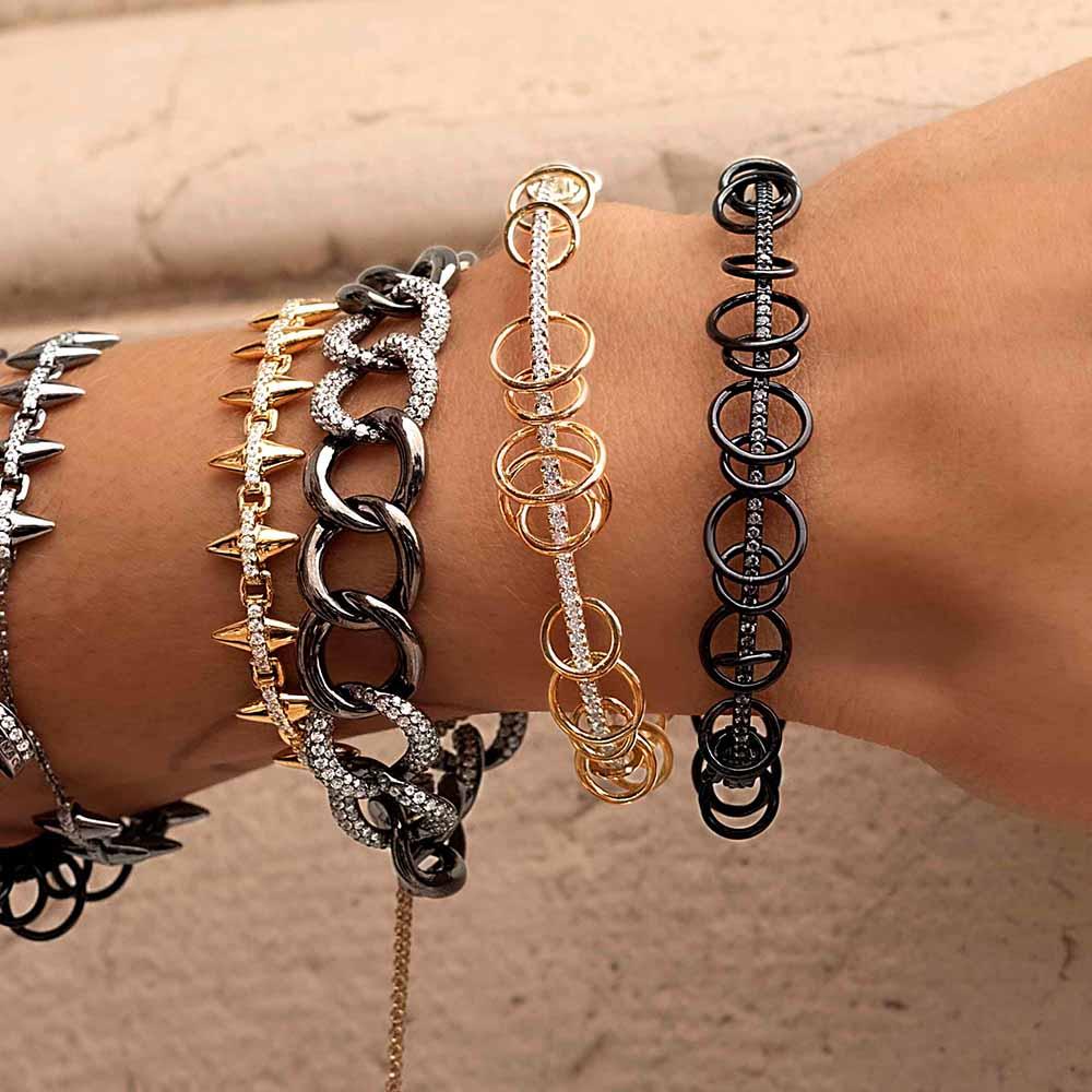Itenice multi círculo pulseiras para mulheres punk cristal arma preto pulseira redonda legal hip hop jóias