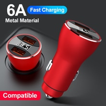 2 USB Ports Car Charger 6A Multi-function Digital Display LED Fast Charging For iphone 12 pro max Hu