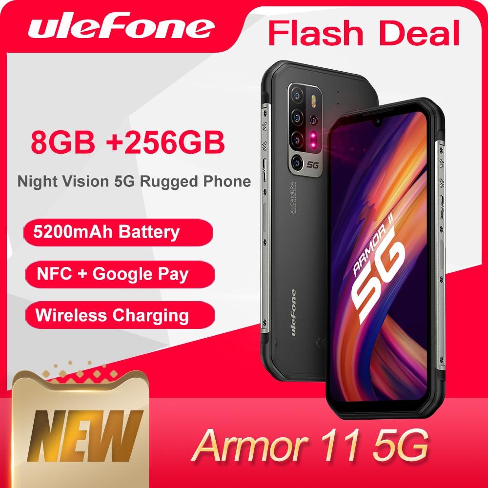 Перейти на Алиэкспресс и купить Чехол-накладка Ulefone Armor 11 5G прочный мобильный телефон 8 ГБ + 256 ГБ водонепроницаемый смартфон 48MP NFC Беспроводной зарядки мобильного телефона