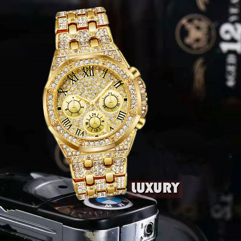 Mens Watches Luxury Hiphop full Iced Out Watch Gold Diamond Rhinestone Watch for Men Wristwatch Relogio Masculino  reloj hombre