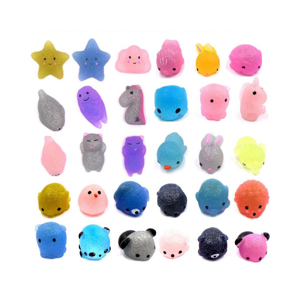 Hobbylane 30Pcs Mochi Squishy Toys Glitter Mini Animal Shaped Squishies Toys Party Favors for Kids Stress Relief Toys Xmas Gifts enlarge