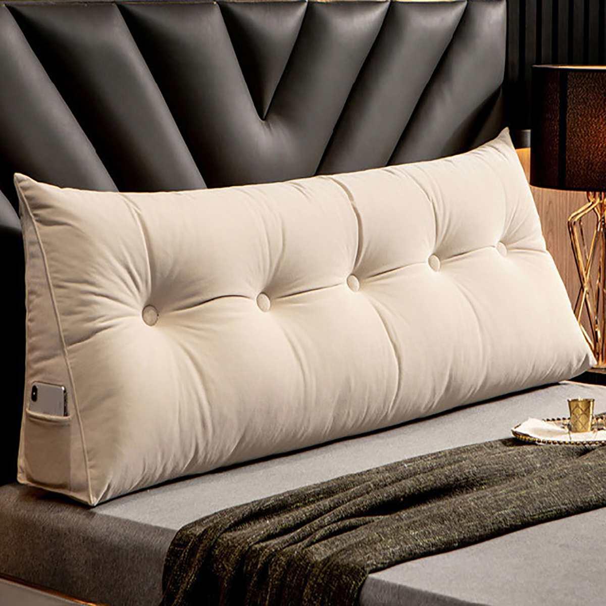 وسادة سرير طويلة مثلثة ، مسند ظهر كبير ، ناعم ، مسند ظهر ، وسادة طويلة