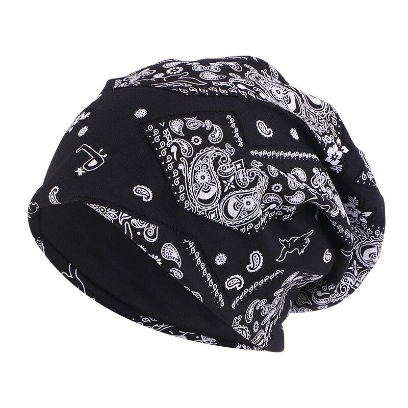 Paisley Pattern Print Cotton Baggy Hat Turban Head Wrap Hat Winter Warm Loose Caps Headwear Headscar