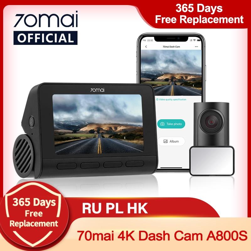 70mai A800S 4K جهاز تسجيل فيديو رقمي للسيارات ثنائي الرؤية لتحديد المواقع ADAS 70mai 4K داش كام A800S 24H وقوف السيارات Monitior الجبهة والخلفية كام 140FOV