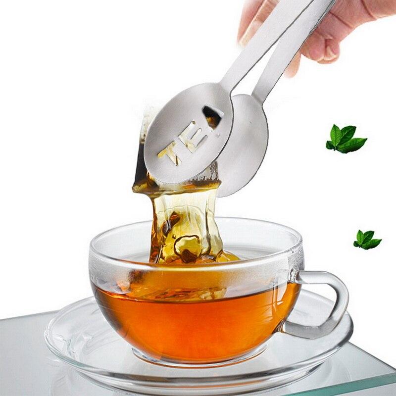 Bolsa de té reutilizable de acero inoxidable, pinzas para bolsa de té, colador exprimidor con soporte, cuchara de Metal, Mini Clip de azúcar, colador de hojas de té caliente