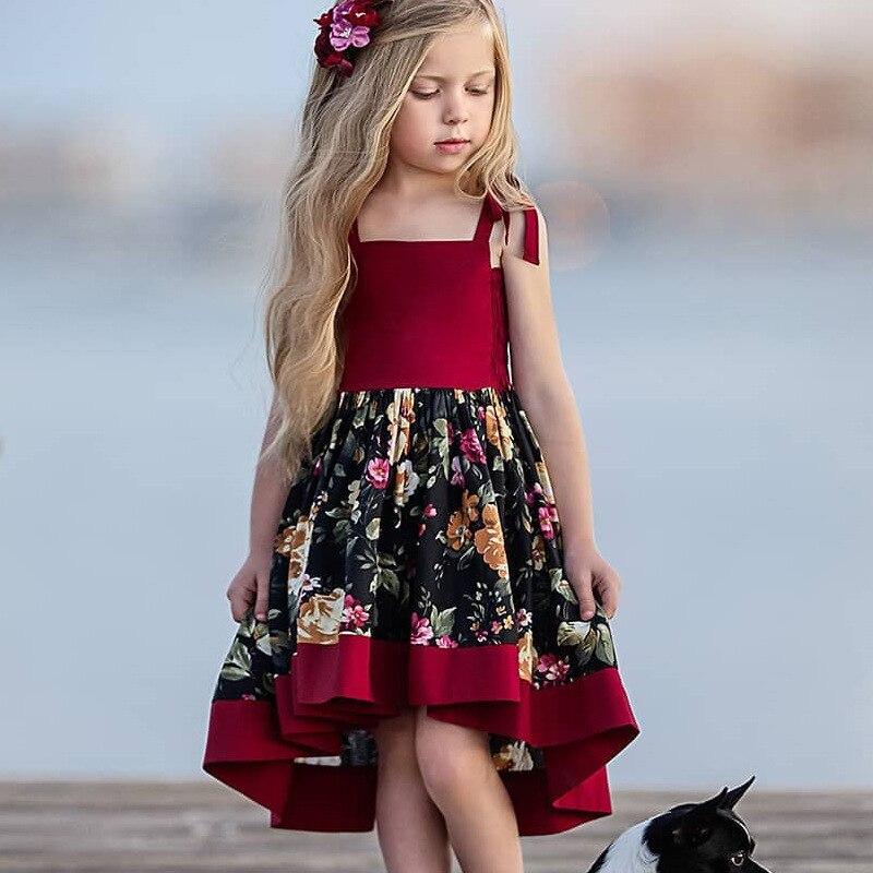 EACHIN, vestidos de niñas, vestido Vintage de estampado Floral sin espalda, vestidos de princesa de verano, corte Irregular, ropa de niños talla 1-10y