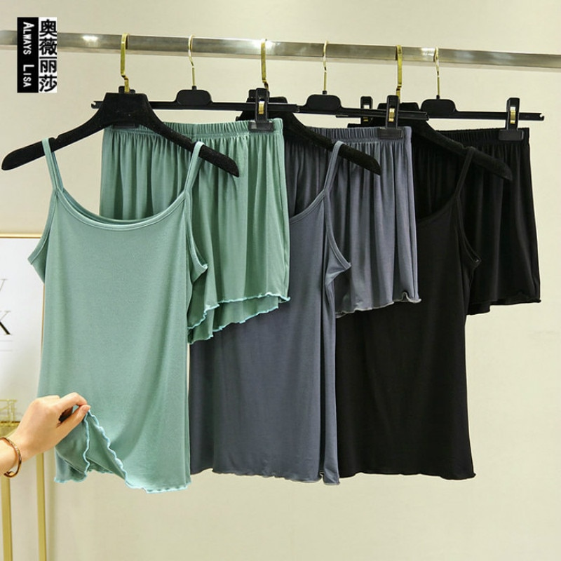 Women Suit Spring & Summer New Suspender Vest Home Set Super Soft Modal Solid Female Shorts Elastic Pajama Suit