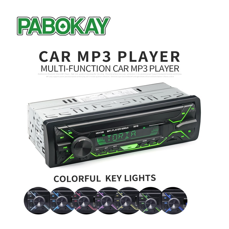 Radio de coche 1din Autoradio Aux receptor de Entrada Bluetooth Estéreo reproductor Multimedia MP3 soporte FM/MP3/WMA/USB/tarjeta SD