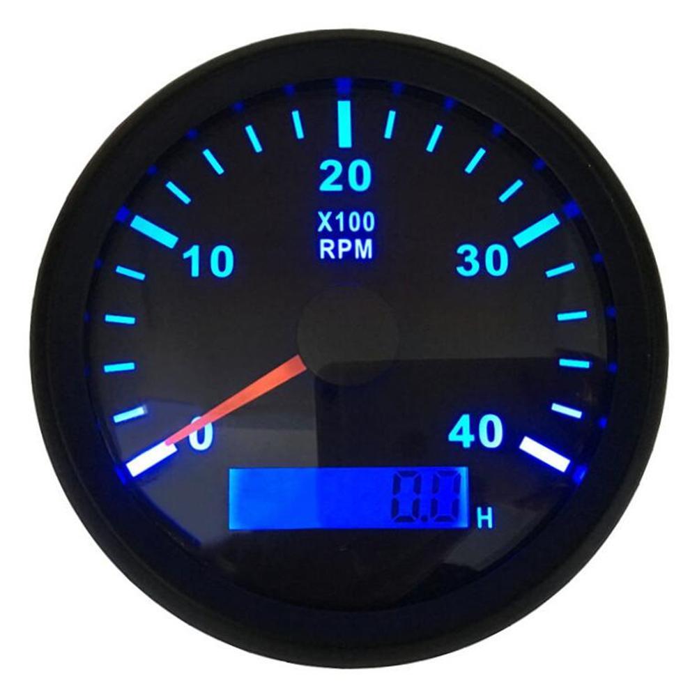 Paquete de 1 contraluz azul 0-4000RPM tacómetros 85mm diésel motor Revolution metros 316L bisel IP67 con Lcd horas metros