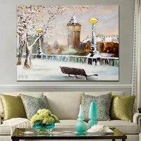 Peinture a lhuile abstraite sur toile  arbre de construction  Streetlight  Art mural fait a la main pour la decoration de la maison  100