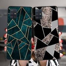 Marble Geometric Art ซิลิโคนสีดำกรณีสำหรับ Samsung A52 A72 A51 A71 A50 A70 A02 A12 A42 A32 A31 A21S a41 A20 A30 A40 A11ฝาครอบ