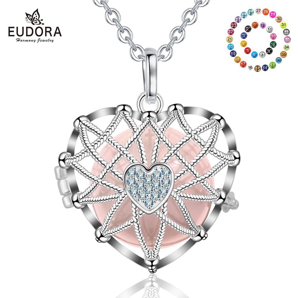 Eudora 20mm Color plata Bola de la armonía amor corazón medallón jaula colgante ajuste DIY Chime Bola collar joyería para las mujeres K245N20