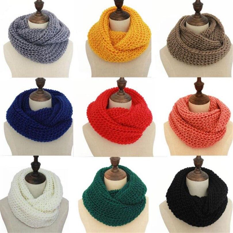 CHSDCSI 2020 женский шарф, модный женский шарф, однотонный осенний вязаный шарф, кольцо, длинная шаль, Теплый Зимний вязаный круглый шарф