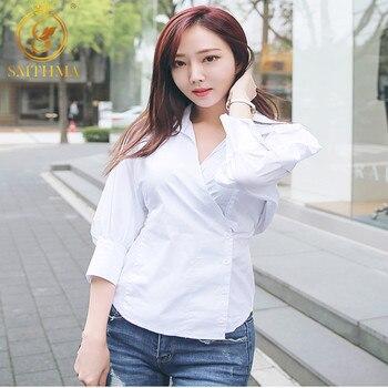 SMTHMA New Spring High quality women Tops Puff Sleeve Sexy v-neck stripe  Elegant Blouse