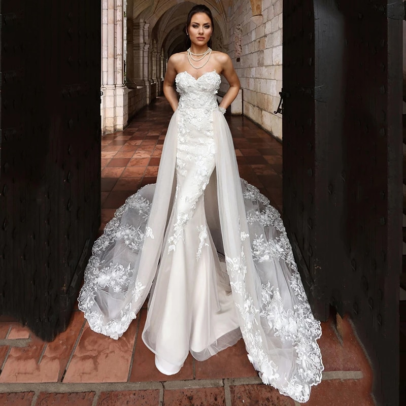 Luxury Mermaid Wedding Dresses Sleeveless Tube Top Detachable Train 2 In 1 Lace Applique Wedding Gowns Tailor-made