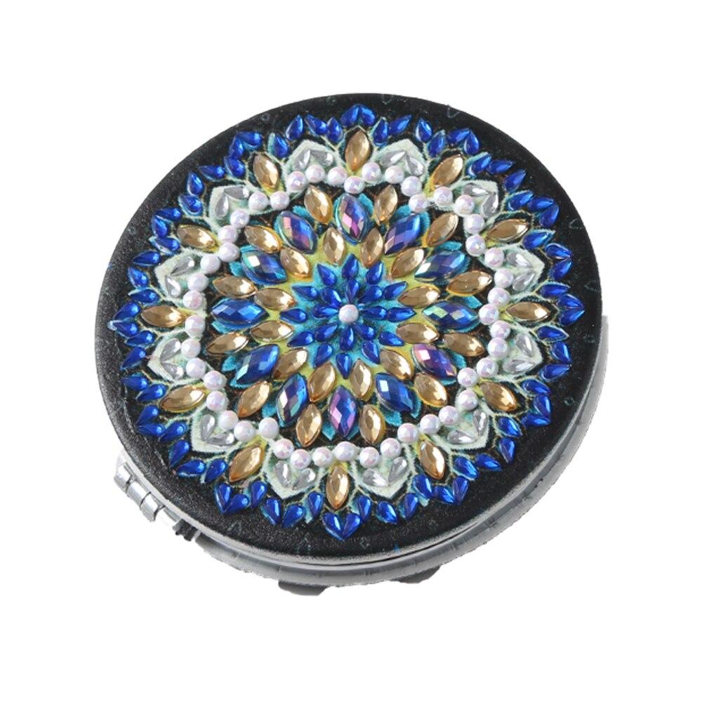 DIY-Forma especial Mandala de diamante para mujer, cuadro con imagen de espejo, bordado de punto de cruz, compacto y plegable, Mini Espejos de maquillaje
