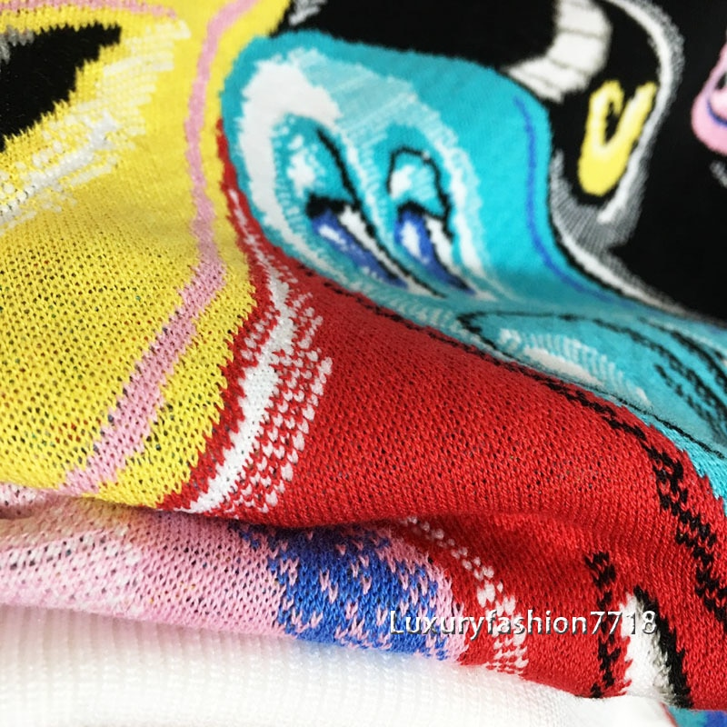 2021 High end new style fashion women Color graffiti print Letter logo embroidery Round neck long sleeve brand pullover sweater enlarge