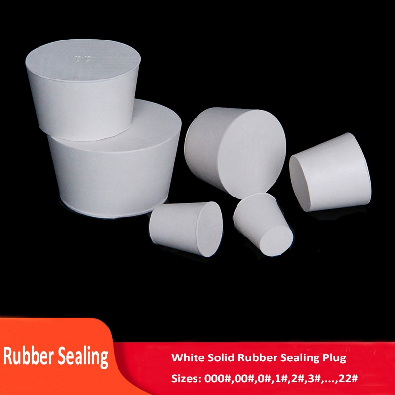 000#-22# White Rubber Plug Stopper Without Hole Sealing Bungs Solid Hole Stop 7.5mm-102mm Push-In For Pipe, Test Tube Sealing 10pcs lot 4 10 rubber stopper erlenmeyer flask plug bottle stopper test tube rubber cap