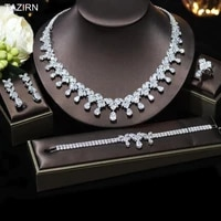 water shape bridal jewelry set cz necklace dangle earrings bracelet ring cubic zirconia wedding dress accessories best gifts