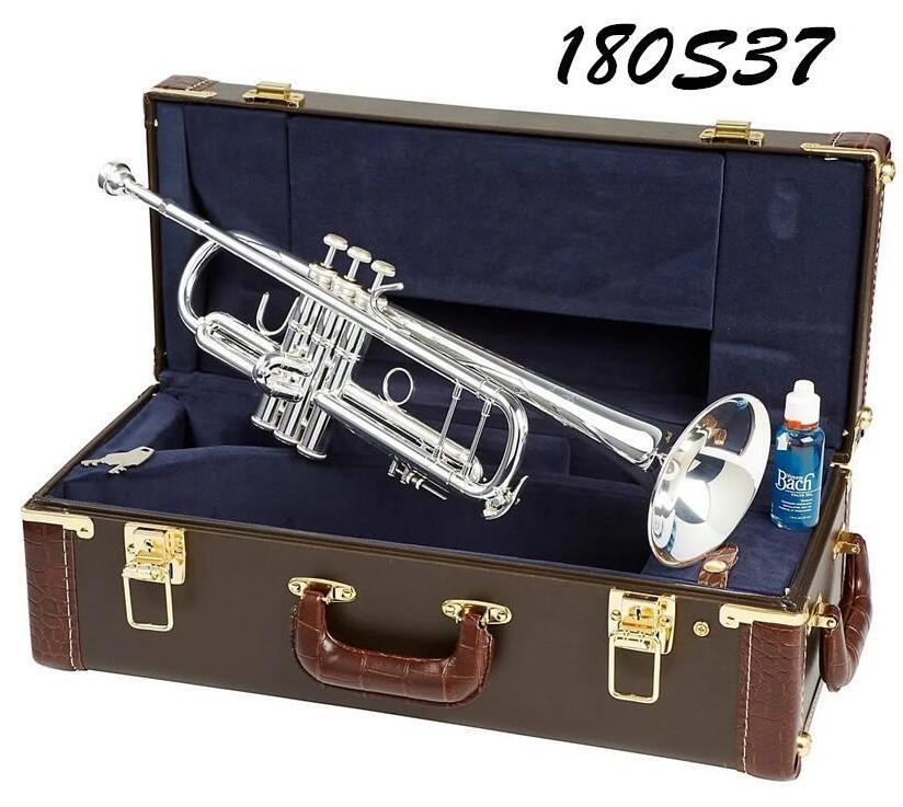 Trompete trompete modelo 37 prata chapeado LT180S-37 com caixa azul original