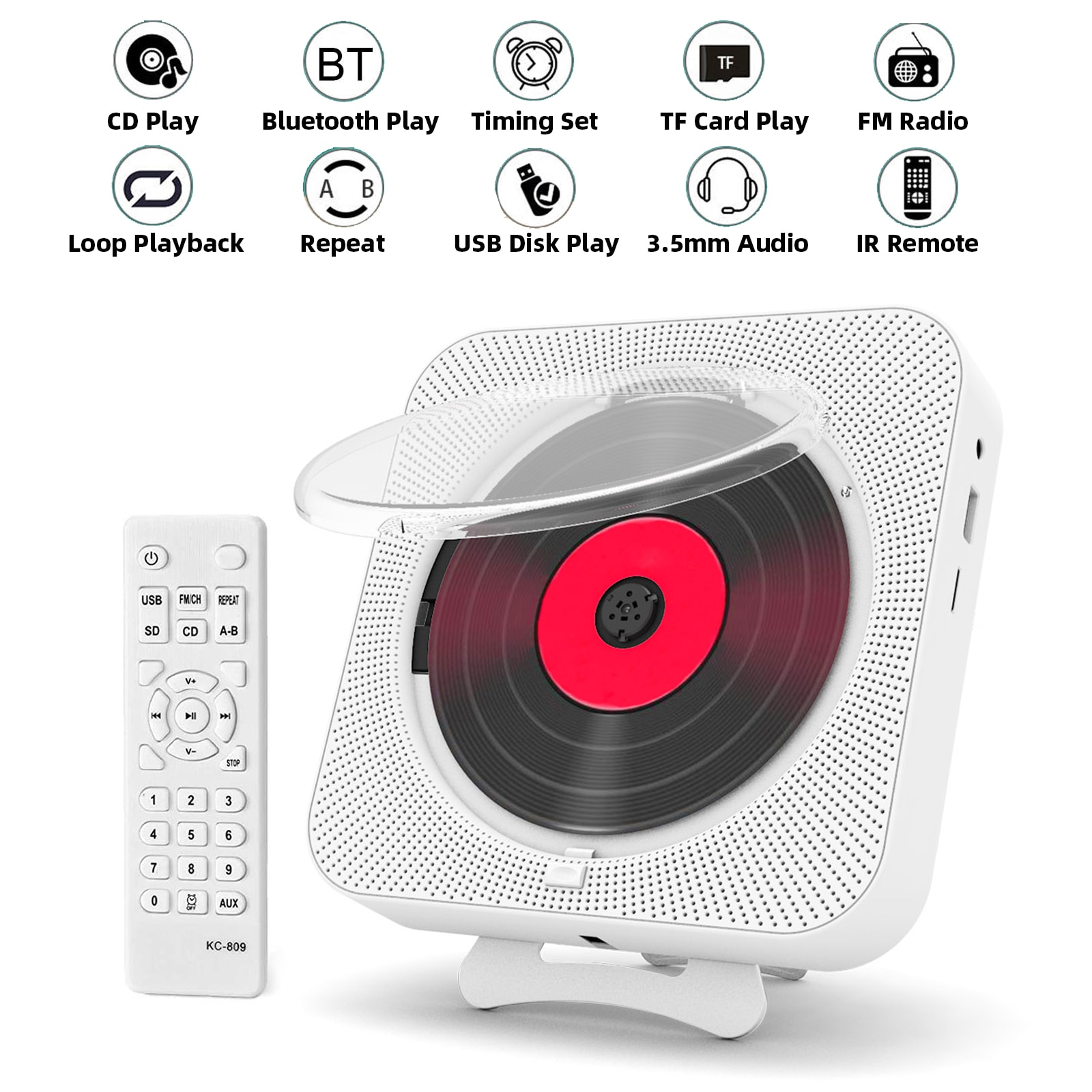 Cost-effective Portable CD Player Bluetooth Speaker Stereo CD Players LED Screen Wall Mountable CD Music Player enlarge