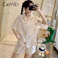 caiyier sweet moon pajamas set summer short sleeve top with elastic waist shorts home wear ladies loose white simple nightwear