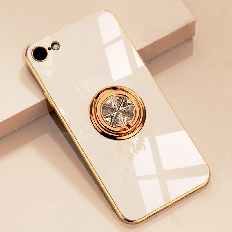 Lujosa carcasa de silicona blanda chapada para iPhone 11 Pro Max XS XR X 7 8 Plus SE 2020 iPhoneX iPhoneXR Sat soporte de anillo