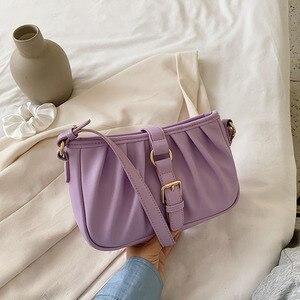 Summer Folds PU Leather Baguette Bags for Women 2020 Mini Fashion Shoulder Bag Sac A Main Femme Handbags Women Designer Travel