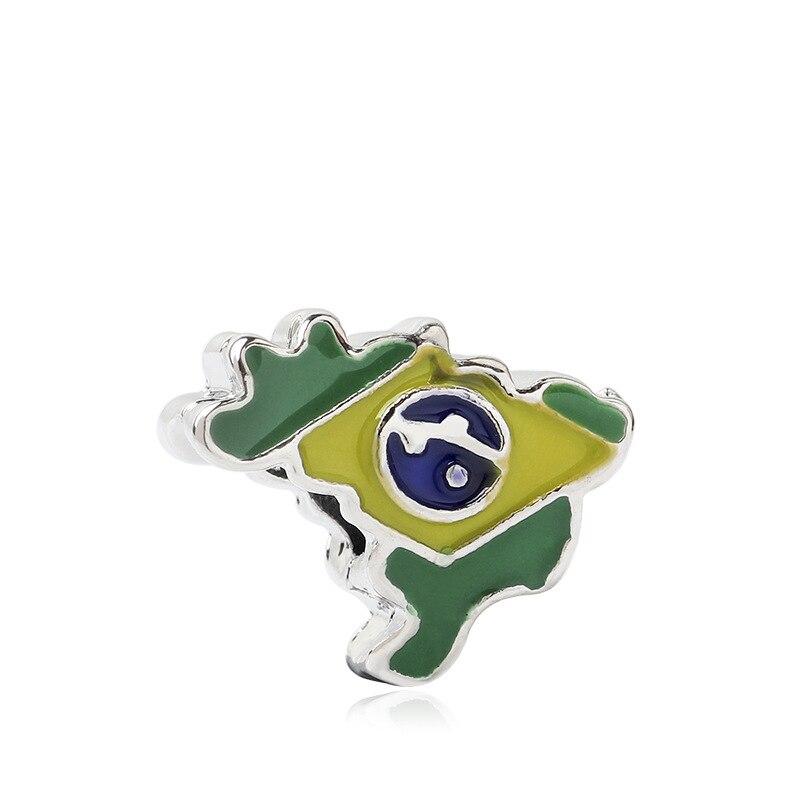 Btubamb europeu de luxo esmalte brasil mapa contas caber pandora encantos pulseiras & bangles para festa feminino presente fazer jóias