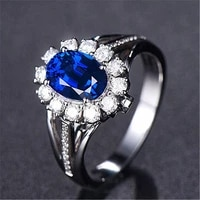fashion flower blue crystal sapphire gemstones diamonds rings for women white gold silver color jewelry bague bijoux lover gifts