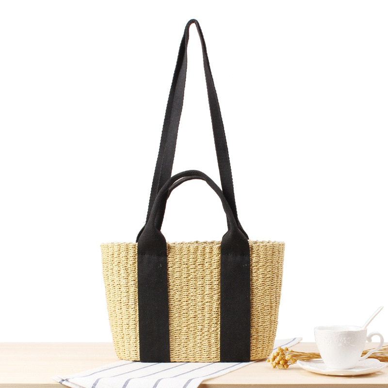 Simple Popular INS Straw Beach Hand Woven Commuter Bag Summer Vacation Stylish Large Capacity Tote Handbags daughter in law mia mizhu series popular elastic bracelet ladies simple hand woven beach vacation style fashion bracelet
