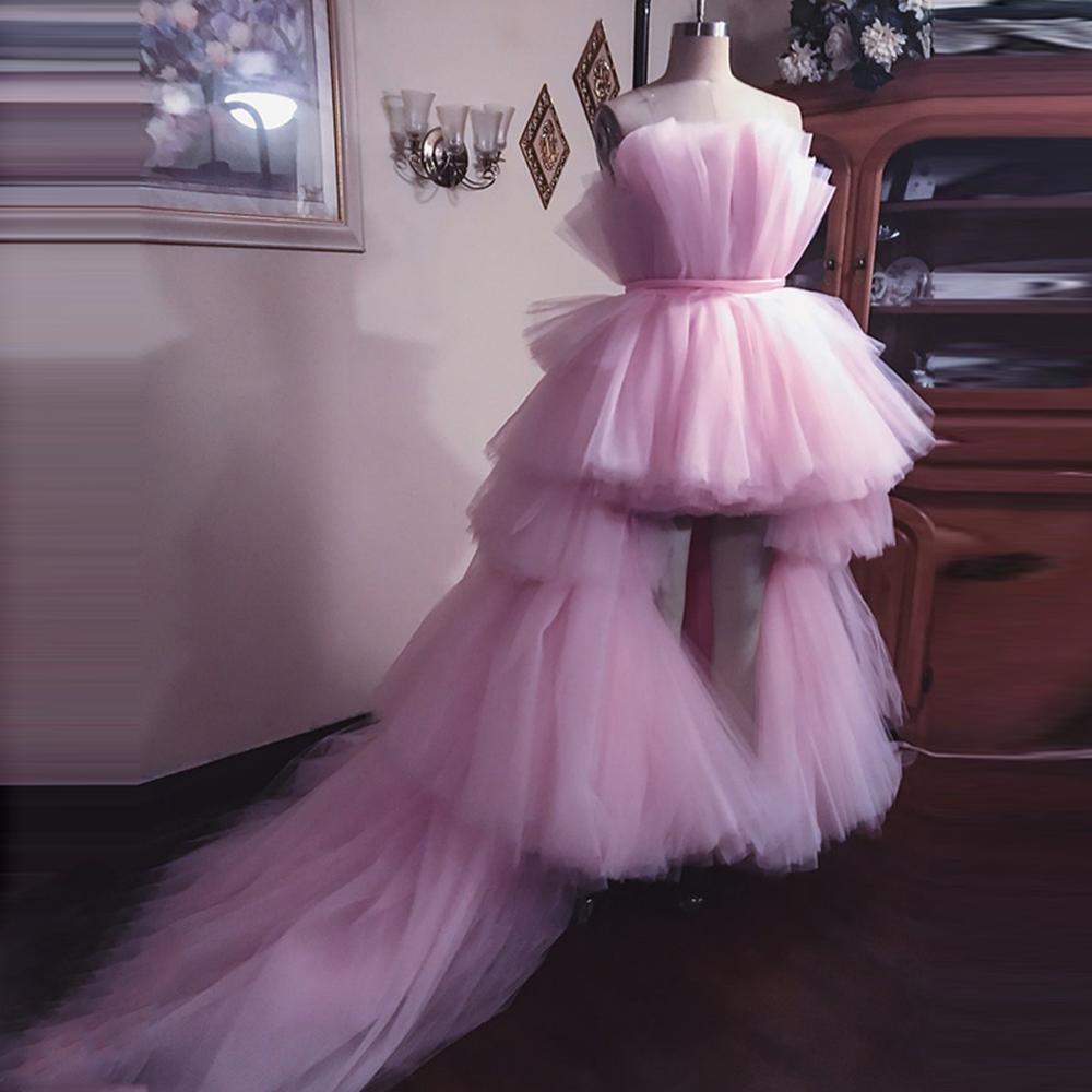 Real Image 2021 فساتين حفلات طويلة منتفخة من التل ذات طبقات منخفضة من الكشكشة الوردية فستان رسمي جميل أزرق Abendkleider