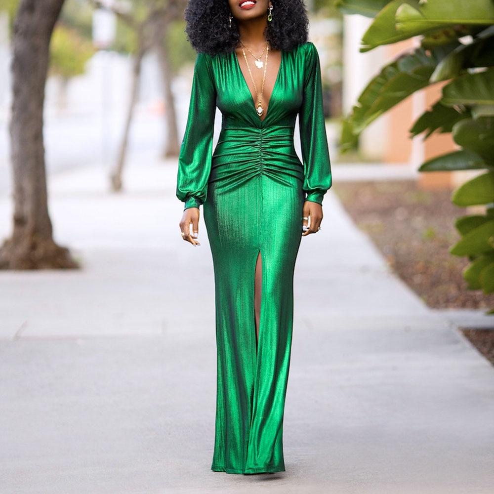 عميق الخامس الرقبة فستان مثير كم طويل العصرية بريق سيدة ليلة نادي مساء الملابس الإناث الخريف الأخضر فساتين للنساء الطرف