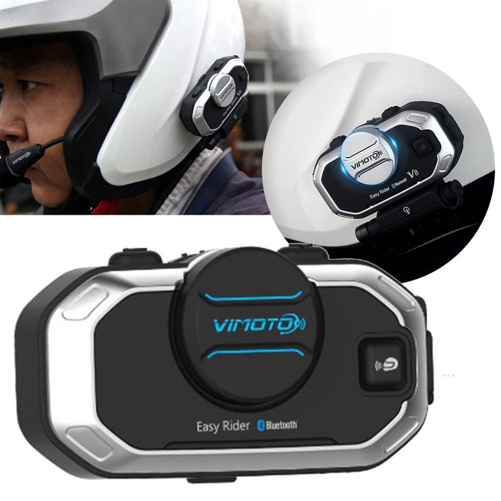 Versión inglesa Easy Rider Vimoto V8 auriculares casco motocicleta auriculares estéreo para teléfono móvil y Radio Gps de 2 vías