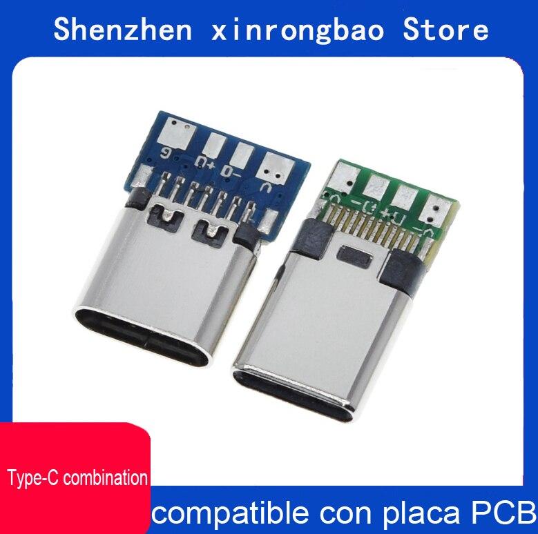 Conector USB 3,1 tipo C, 24 Pines, macho/hembra, adaptador para receptor para soldar, Cable y 24 Pines, compatible con placa