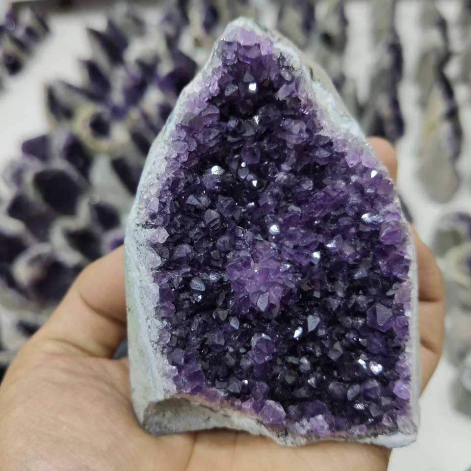 Grande ametista cluster geode cristal quartzo corte base ametista espécime uruguai