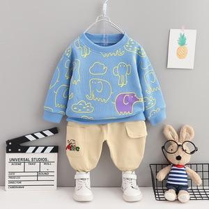 2021 Fashion Children's Suit Boys and Girls Children Elephant Cartoon Printed T-shirt Pants 2-pieces Sets