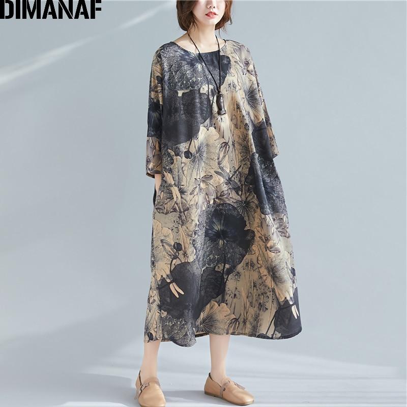 DIMANAF Plus Size Women Dress Vintage Print Female Lady Elegant Vestidos Long Sleeve Loose Oversize Casual Clothing Spring New