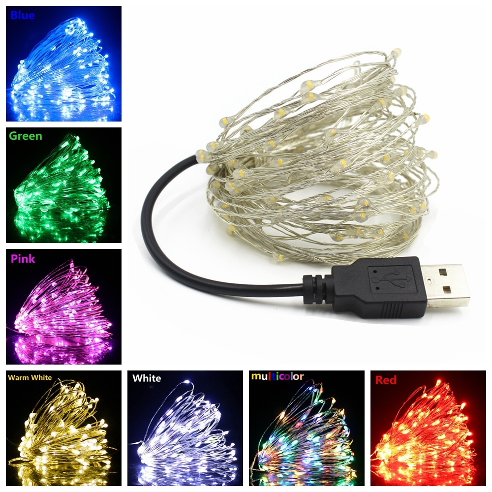 100 led string lights 10m 5m 1m usb waterproof copper silver wire garland fairy lights for christmas decoration wedding party USB LED String Lights 10M 5M 2M Silver Wire Waterproof Fairy Light Garland For Home Christmas Wedding Party Decoration