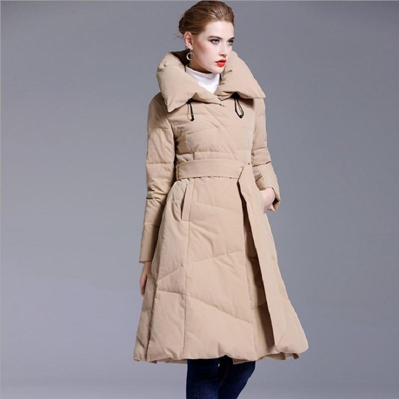 الشتاء المرأة التلبيب الكبير طوق طويل يندبروف رقيق أسفل معطف الإناث كان رقيقة سميكة الدافئة أسفل سترة سترات مع حزام F2493