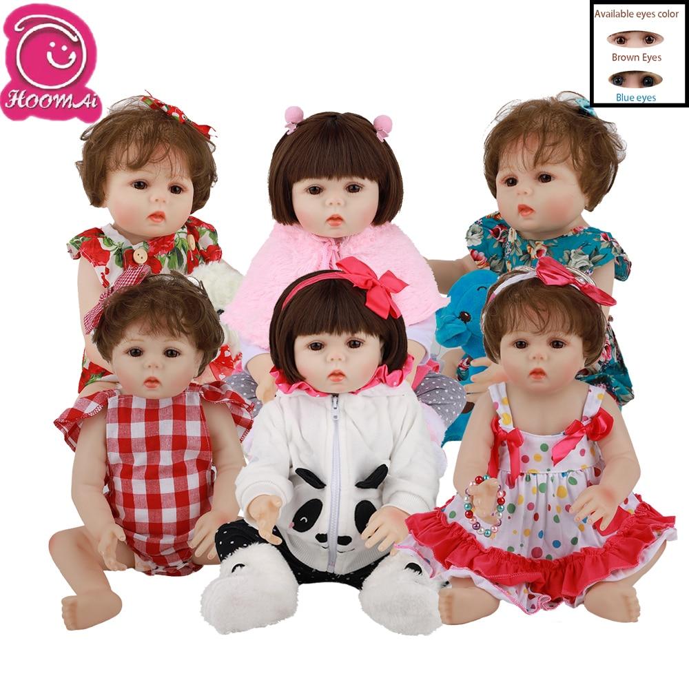 Pelo Rizado realista para recién nacido de Hoomai, 18 pulgadas, cuerpo completo de silicona, muñecas Reborn realistas para bebés, regalo de cumpleaños para niños