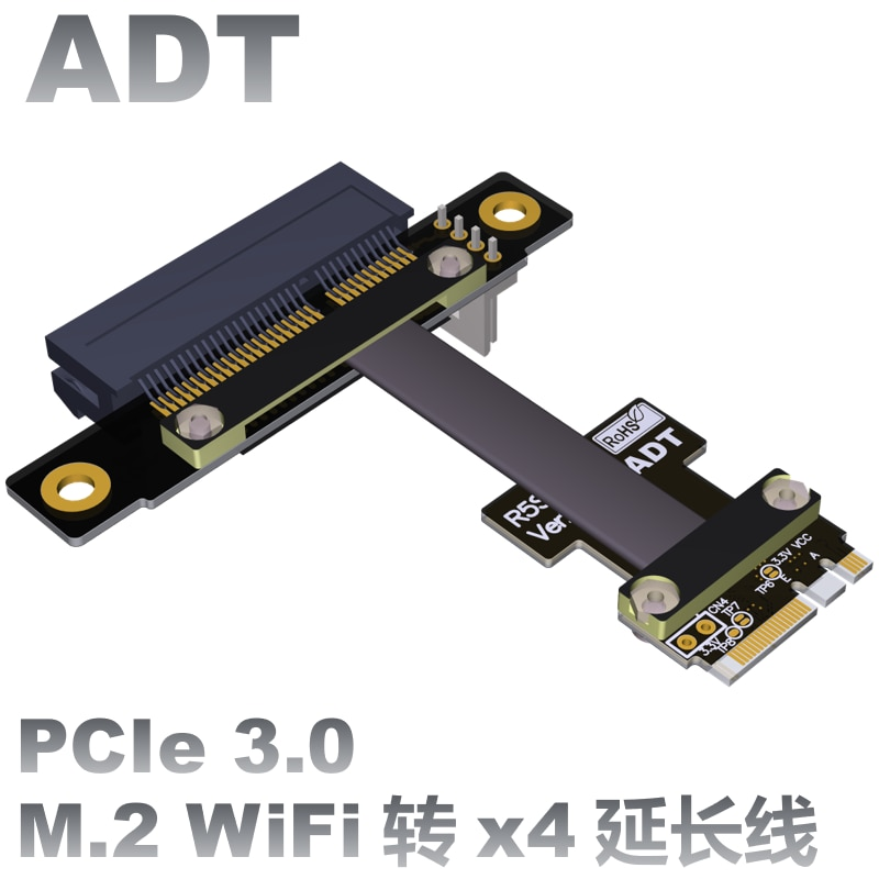 pcie x1 x4 extender adapter jumper for audio wireless lan usb cards pci e 1x to 4x pci express cables extension cable x4 female Riser M.2 WiFi A.E Key A+E To PCI-e x4 Extender Adapter Card Cable Gen3.0 AE Key A E For PCIE 3.0 x1 x4 x16 M2 R52SF/R52SL/R52SR